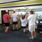 Fitness Plus. Getting all the equipment set up = well-deserved Rocky fist pump.