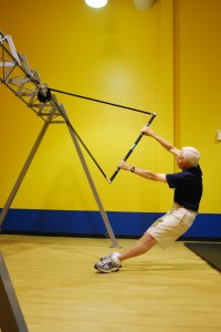 A client at Rapid Fitness in Raleigh works out on SO-50 equipment, developed by Rapid Fitness owner John Stuef