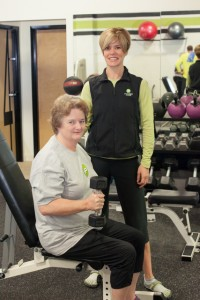 Fitness Plus client Peggy Henderson working with personal trainer Laura Coombs