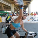 Ironman Amy Ball on the bike.