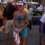 Ironman Louisville. Amy Ball at the finish line on Fourth Street. 08.25.13